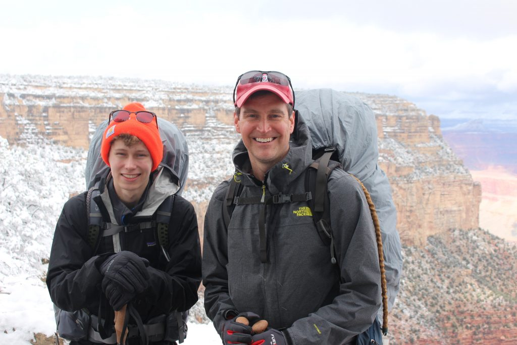 Keith and son on backpacking trip